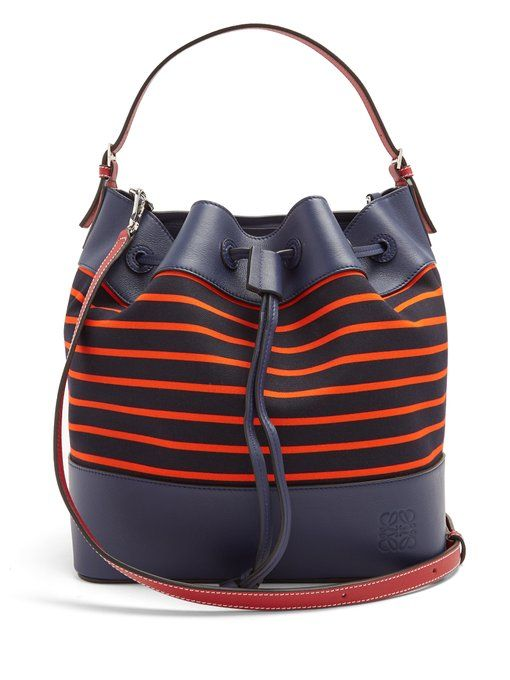 1ee7423a3a Loewe Midnight leather and striped canvas bucket bag