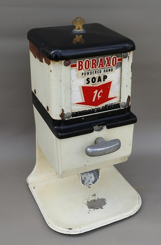 "1950s penny coin-op 20-Mule Team Borax Soap dispenser used in a gas station. I haven't heard the term, ""Boraxo,"" in a long time."