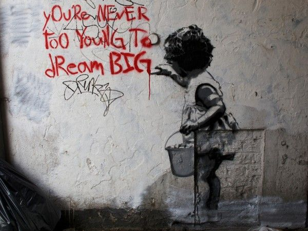 Dream Big, Stephen Cotterel, Banksyinspir Street, Dreams Big, Street Art Utopia, Quote, Mr. Big, London England, Streetart