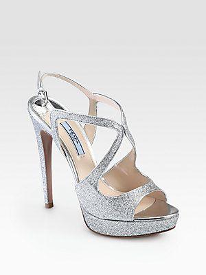 Preciosas sandalias plateadas de Prada para una novia atrevida - Prada Glitter Strappy Platform Sandals