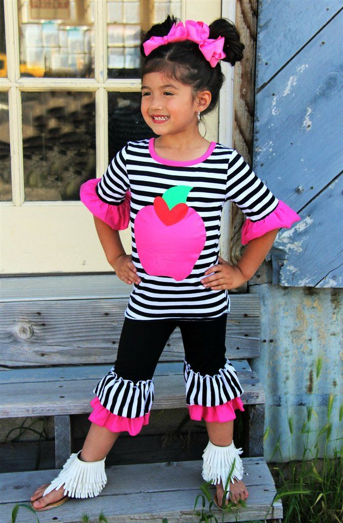 Hot Pink Apple Stripe Capri set #boutique-outfits #clearance #daily-deal #daily-deals #new #newborn-clothing…