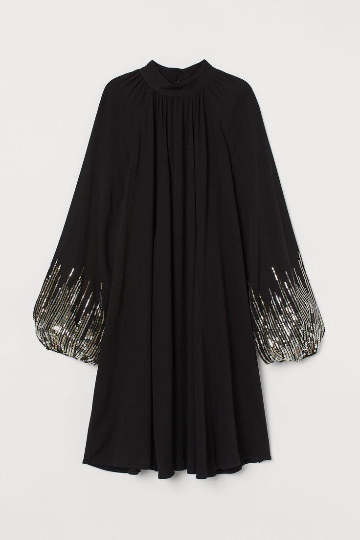 بلوزة شيفون طويلة لون اسود للمحجبات والسهرات Women Long Sleeve Dress Stylish Dresses Fashion Design Clothes