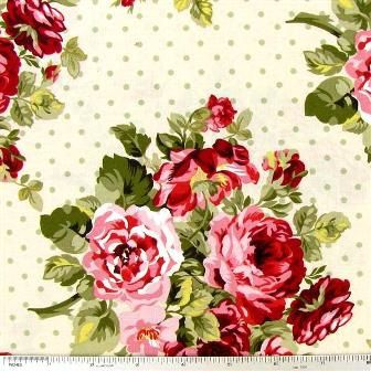 Floral & Dots on Cream Shabby Chic Fabric by fabulouslychicfabric, $12.99