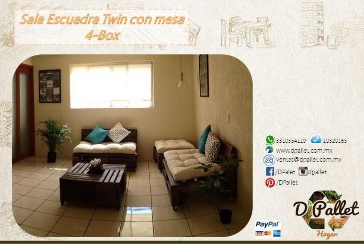 Sala Escuadra Twin con mesa 4-Box Fabricamos todo tipo de mobiliario a partir de la recuperación de madera de Pallet o Tarimas.
