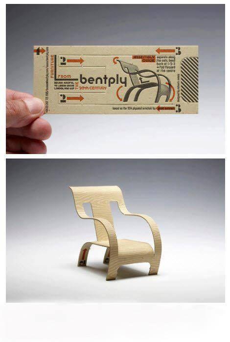 Unique folding Business Cards for Furniture Designer