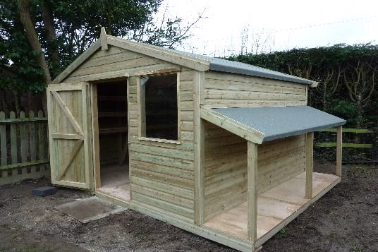 Garden shed with log storage