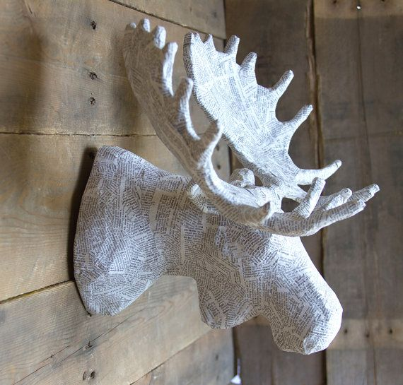Medium Paper Mache Animal Head Sculpture Moose by PaperUnleashed