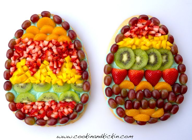 Easter Egg Fruit Pizza Recipe! http://www.cookinandkickin.com/2014/04/easter-egg-fruit-pizza.html