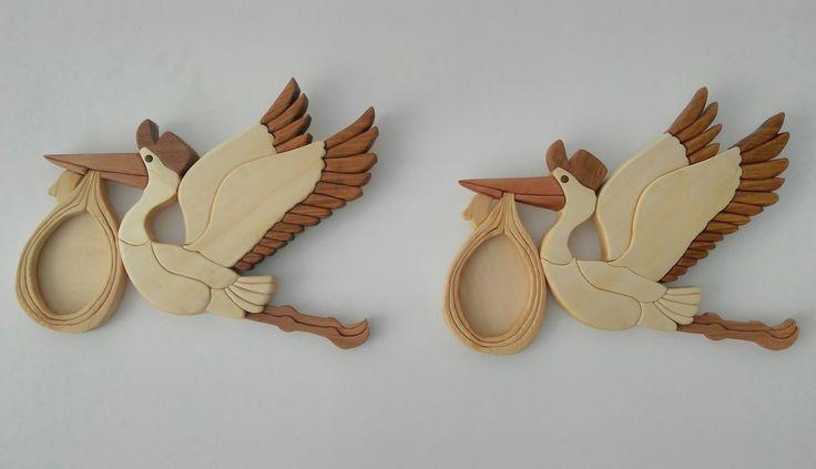 Ahşap kakma leylekler wood intarsia stork