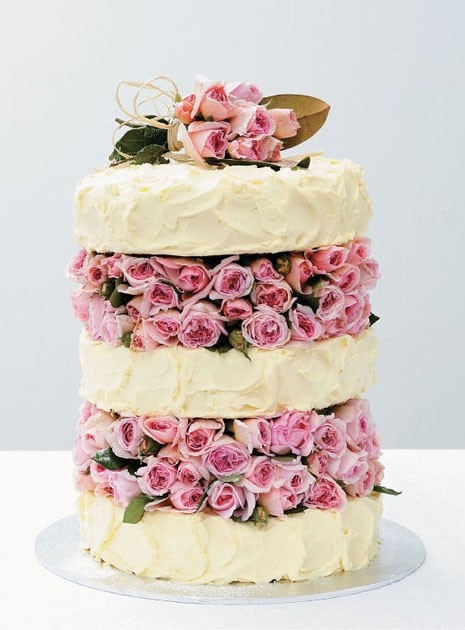 Hummingbird cake and cream cheese icing, garnished with David Austin roses by Simmone Logue.