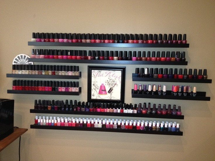 "My creative Ikea ""Nail Polish"" rack.  This is much prettier than your typical polish rack options. These are Photo Shelves in two different sizes strategically placed.  www.bamboospalkn.com"