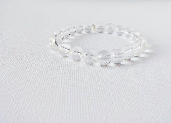 Crystal Quartz Mala Bracelet. by AumShantiDesigns on Etsy