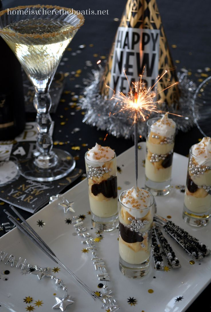 Sparkling Mini Parfaits~ a festive and party size dessert, easy to assemble and alter with your ingredients, making them as fancy or simple as you like! #newyears #dessert #nobake