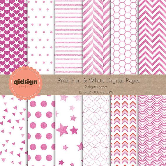 Hey, I found this really awesome Etsy listing at https://www.etsy.com/listing/243177665/pink-foil-white-digital-paper-chevron