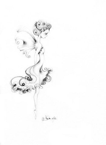 """Pencil Drawing OOAK Pen and Ink Fairy Art Orginal Fantasy Drawing """"Clara"""" Fairy Pencil Drawing Black and White Teamt"""