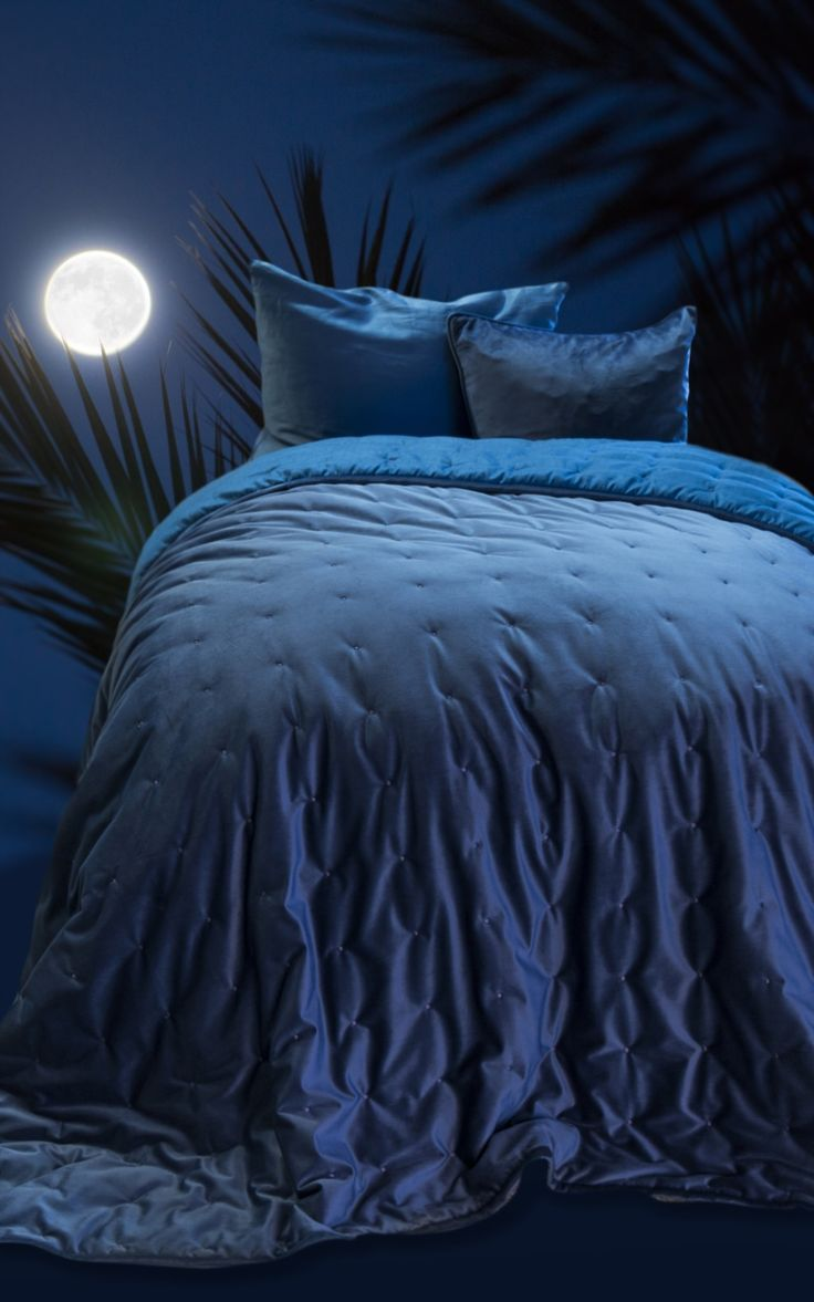 Midnight Blue velvet bedspread from Notes By Susanne Schjerning