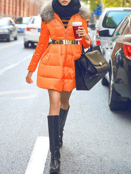 Orange Paneled White Goose Feather Down Coat