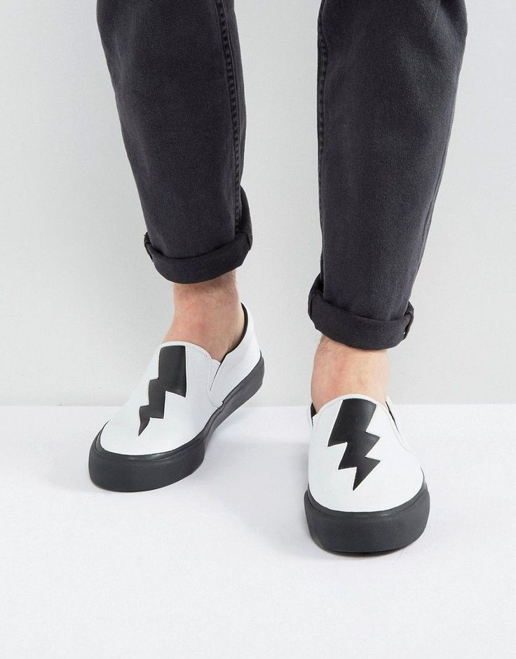 ASOS Slip On Sneakers In White With Black Thunder Bolt Cut Out - White
