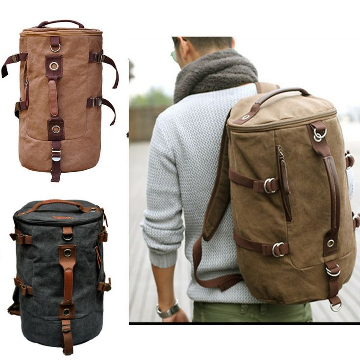Men Canvas backpack Rucksacks leather shoulder travel Hiking Camping bag cool US $47.99 Ebags BackPack Tumblr | leather backpack tumblr | cute backpacks tumblr http://ebagsbackpack.tumblr.com/