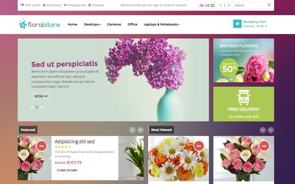 Check out Pav Floral. Bootstrap OpenCart Theme  @bootstrapstage