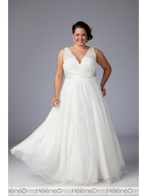 Awesome Empire V-neck Sleeveless Floor-length Plus Size Wedding Dresses