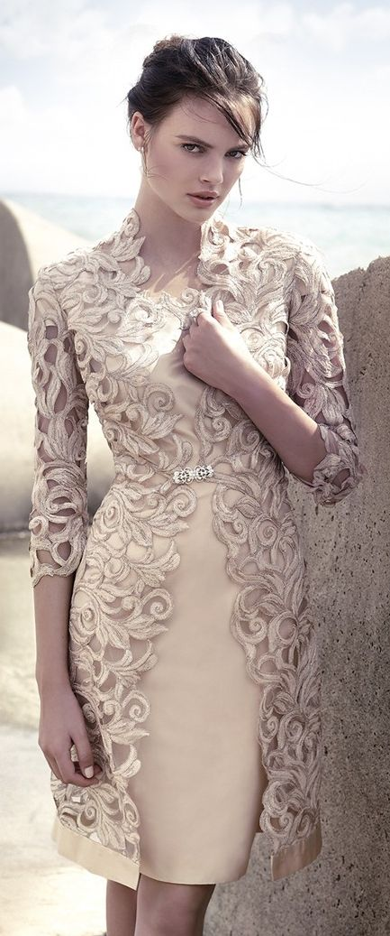 Carla Ruiz Dress - the two piece, overlay look is cute. Would be extremely elegant in a long gown...Mother of the Bride dress