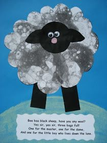 "Here is another project utilizing bubble printing.  See my original post here  I was inspired by the children's nursery rhyme ""Baa Baa Bla..."