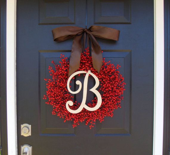 Monogram Red Berry Wreath Fall Wreath Christmas by ElegantWreath