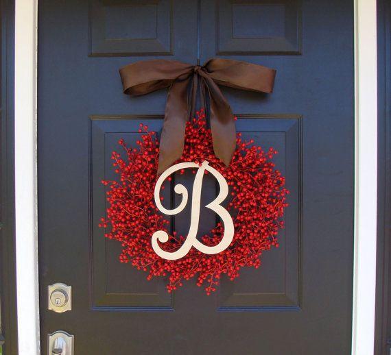 Monogram Red Berry Wreath Fall Wreath Christmas by ElegantWreath