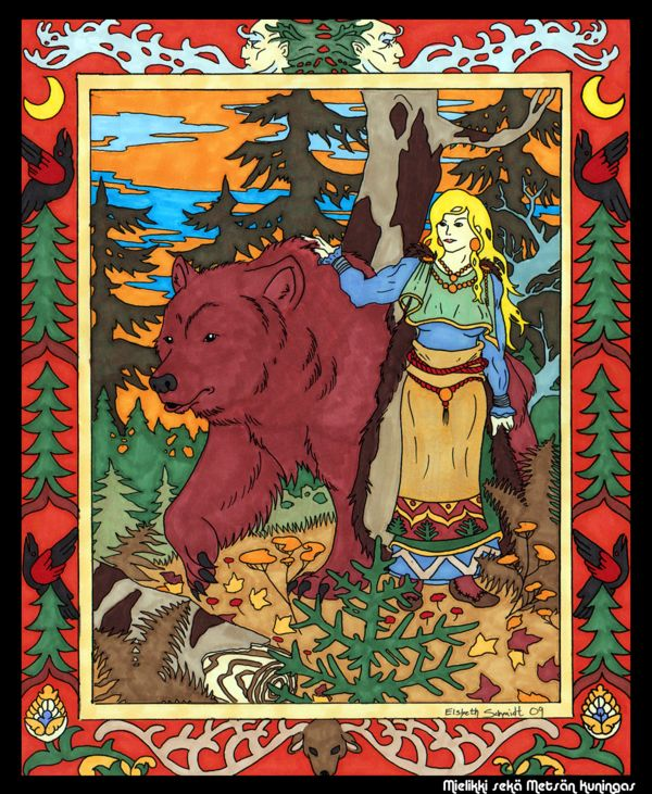 Mielikki by dragoninthemist Finnish goddess of game, hunting and the forest Her symbols are the Bear, Grain, Woodland Plants Her Themes are Change and Providence