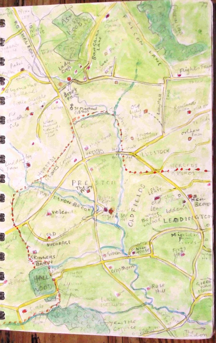 How Herefordshire marches with Gloucestershire at Preston - from the sketch book of Philip Weaver..