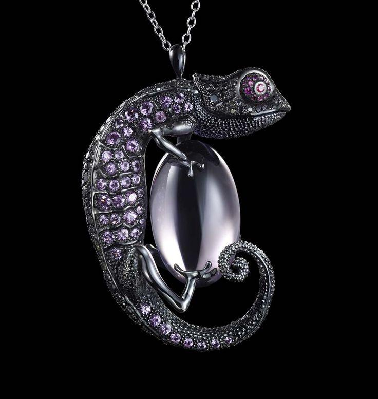 No camouflaging this Dashi Namdakov Chameleon pendant with black diamonds, rubies, sapphires and amethysts.