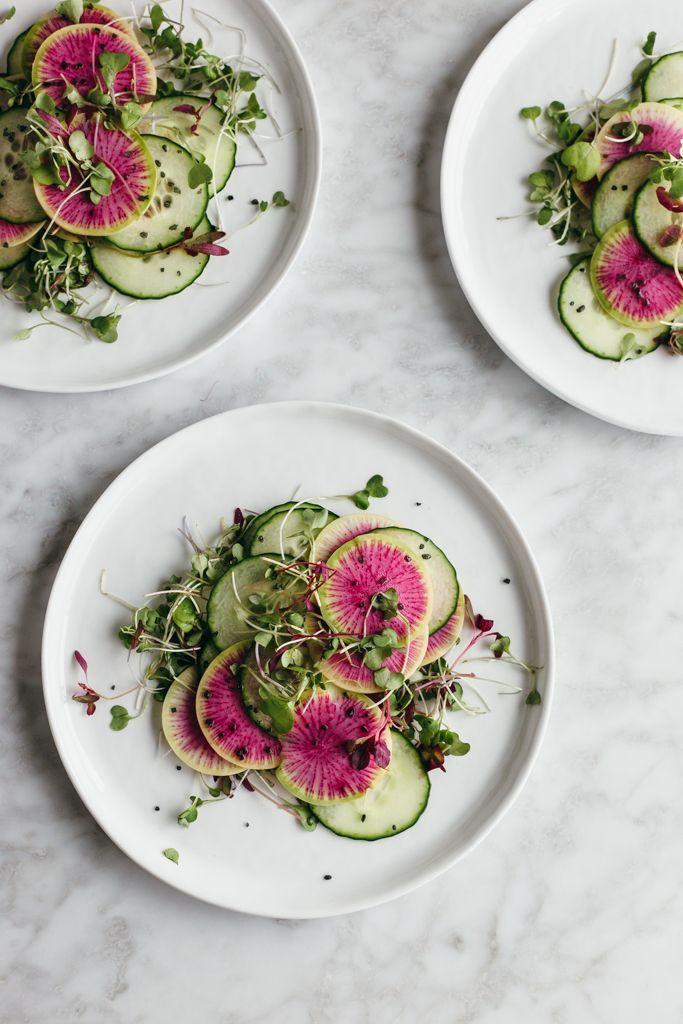 Watermelon Radish and Cucumber Salad
