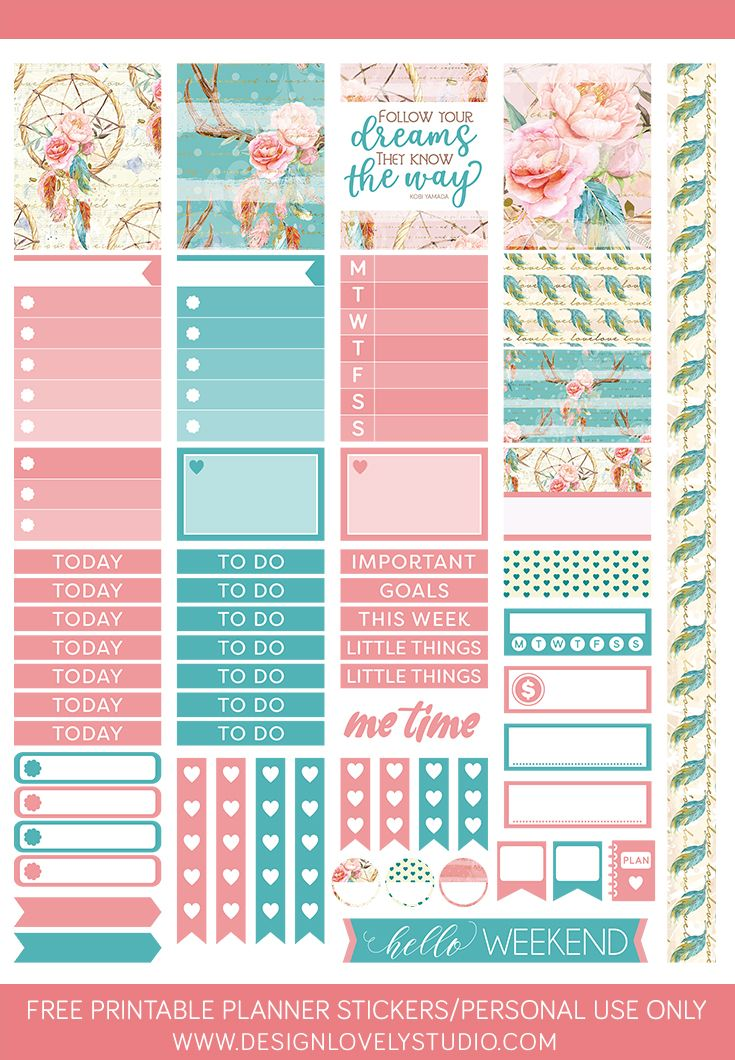 Free printable floral planner stickers in lovely pink and turquoise. For Erin Condren Life Planner. From Design Lovely Studio. #printable #plannerstickers #organize #free
