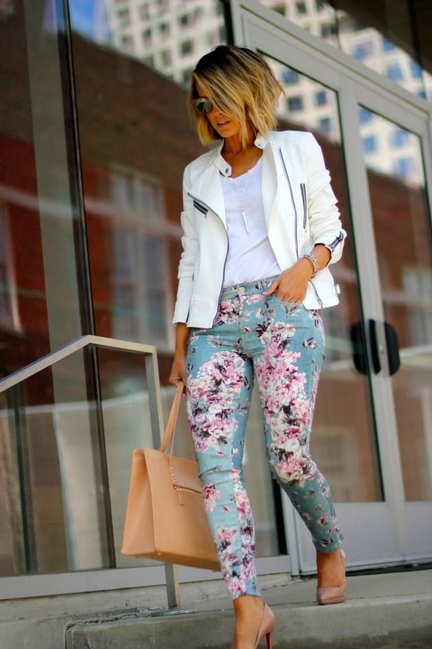 Blue Victorian Floral Skinny Ankle Jeans
