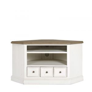 Boston Interiors | Colleen Corner TV Console. Hand painted two tone stucco white and sun dried wheat, brass hardware, reclaimed and recycled pine.