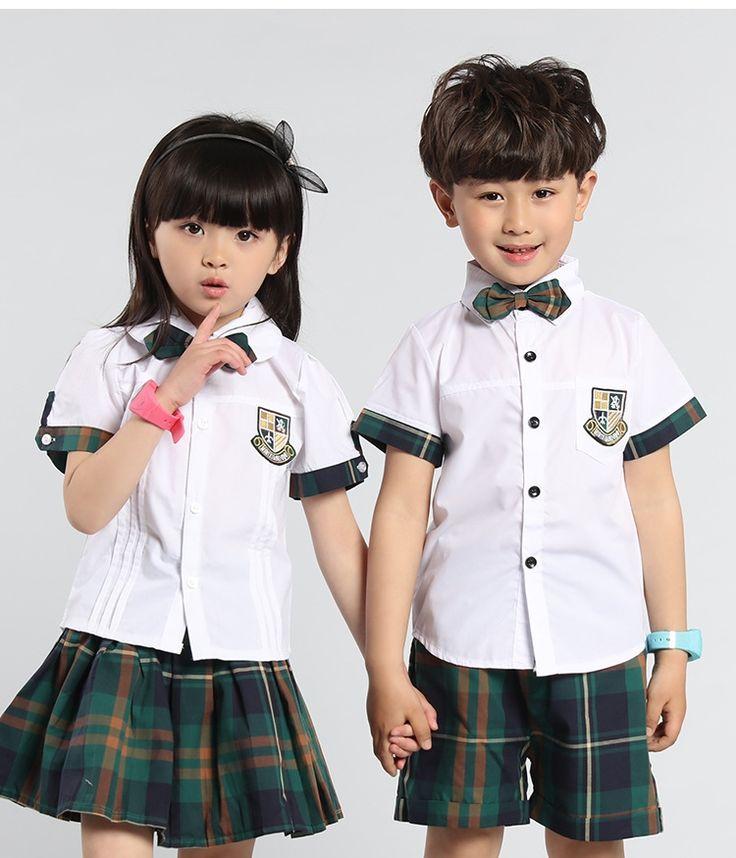 26.18$  Buy here  - Boys Girls Children English Kindergarten Teacher Summer Suit Pupils New Cotton Sports Uniform Kids Two Pieces Clothing Sets