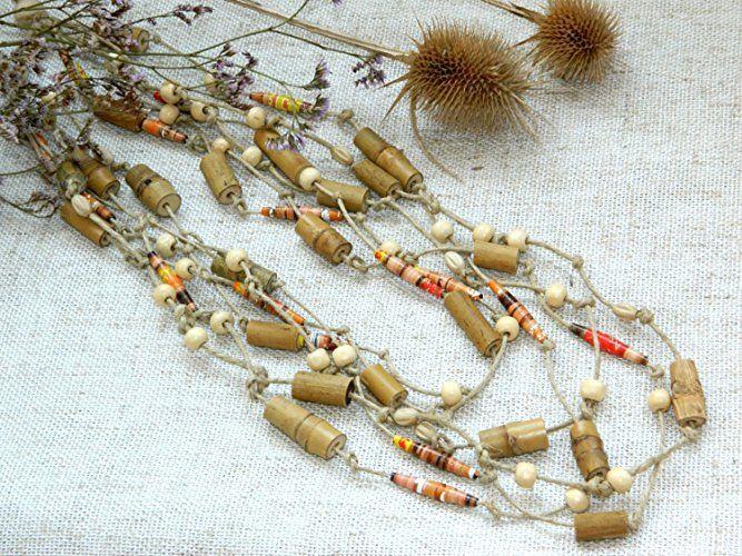 Rustikale Bambuskorn halskette Stammes Halsketten ethnische Halskette Afrikanisches Kenia Pappmache Öko Strand hochzeits schmuck sachen Boho Halskette Rustikales Schmucksache Valentinsgruß geschenk Valentinstaggeschenk