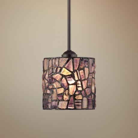"Cobblestone Mosaic 7"" Wide Tiffany Style Mini Pendant - #2T083 | LampsPlus.com - breakfast bar"