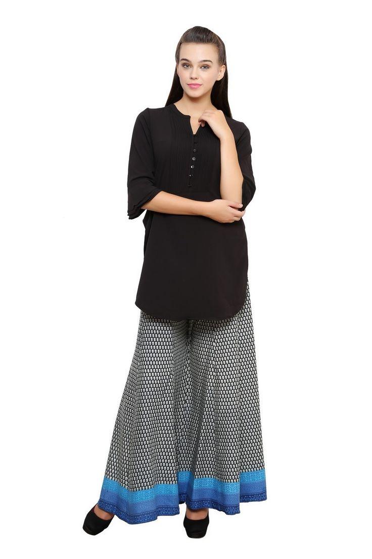 Royal Blue Parallel Divided Skirt - Divided Skirts - Indo-Western - Lakshita