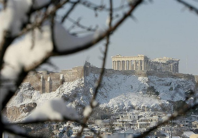 Acropolis hill is snow-covered in Athens