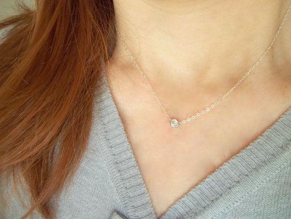 Solitär-cz-Halskette / Tiny Diamant Halskette  von viartvi auf Etsy
