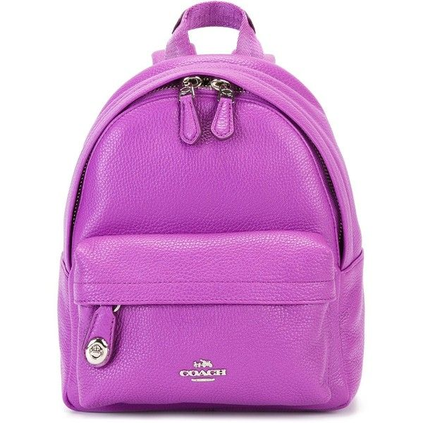 Coach mini front pocket backpack ($355) ❤ liked on Polyvore featuring bags, backpacks, pink, leather bags, coach backpack, leather rucksack, leather daypack and real leather backpack
