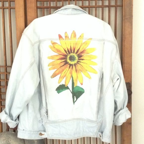 Denim jacket distressed bleached never worn Denim distressed bleached denim jacket with hand painted sunflower furst of a kind Jackets & Coats Jean Jackets