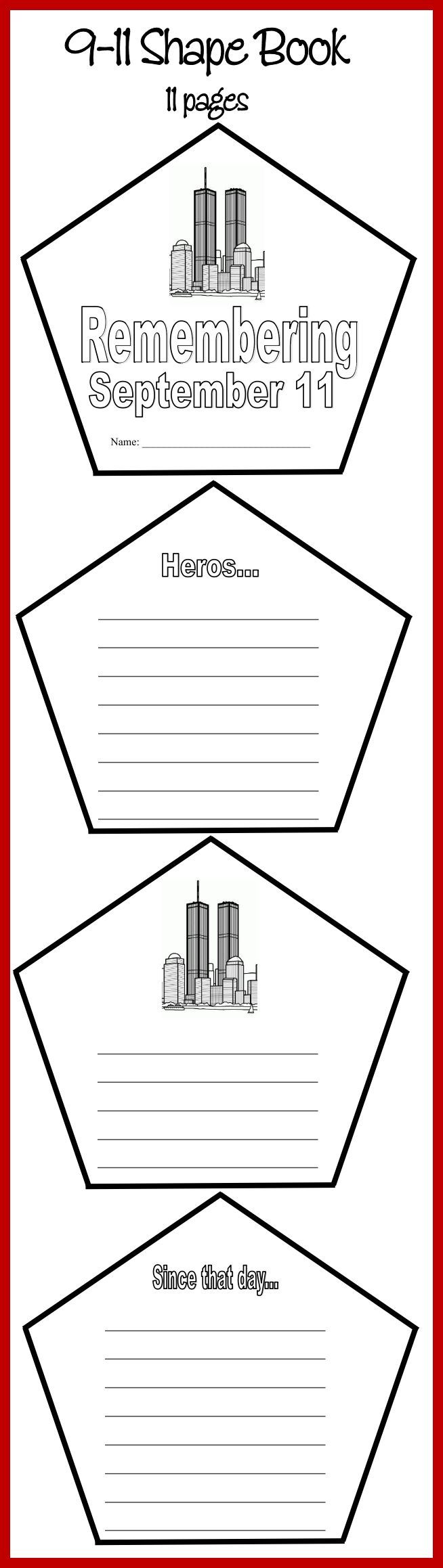 NEW DOWNLOAD: 9-11 Shapebook 11 pages Download Club members can download @ http://www.christianhomeschoolhub.com/pt/September-11th-Teaching-Materials/wiki.htm