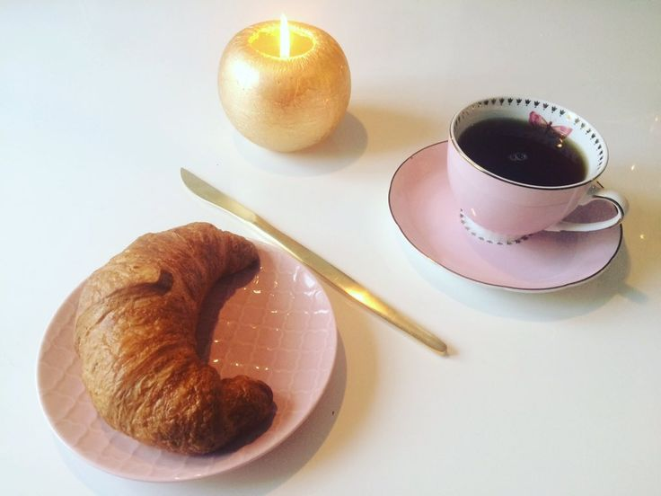 Good morning! Have a good day! #breakfast #tea #croissant