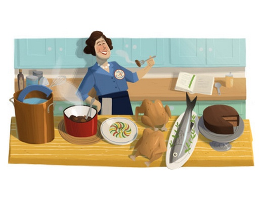 Google Doodle celebrates the 100th birthday of chef, author and television personality Julia Child