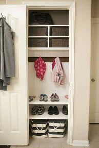 Transform a small awkward coat closet into an amazing mini mudroom! http://m.hometalk.com/4678710/organizing-coat-closet-mini-mudroom?utm_source=facebook&utm_medium=facebook&utm_campaign=featured