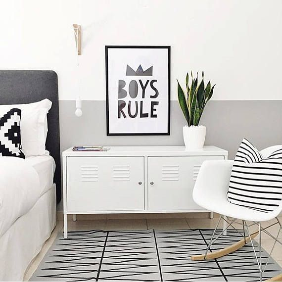 Boys room decor nursery print Typography poster Black and