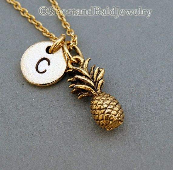Pineapple necklace, Pineapple charm necklace, fruit charm, antique gold, initial necklace, initial hand stamped, personalized, monogram